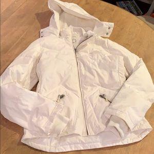 Jcrew white hooded puffer coat